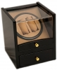 2+4 Blackwood Dual Watch Winder Box AC/DC & Battery Operated w/ Drawer